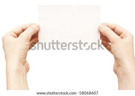 hands holding white empty paper isolate on white
