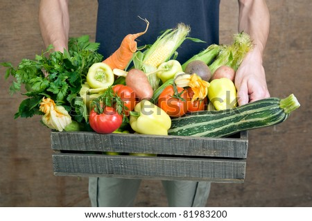 Hands holding wooden crate with fresh vegetables