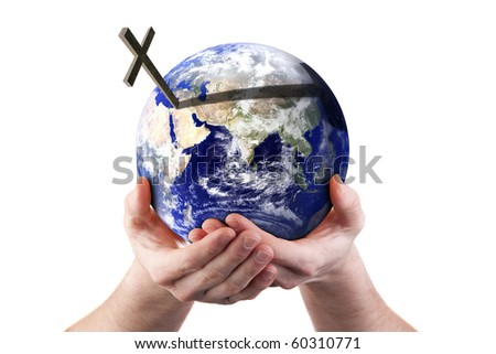 Hands holding world with cross. Isolated on white. Religious concept. Earth image courtesy of NASA.