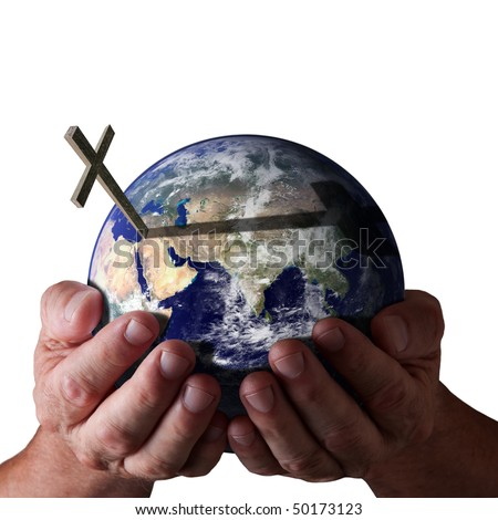 Hands holding world with cross on isolated black background. Religious Concept. Earth image courtesy of NASA.