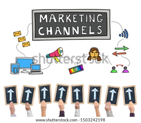 Hands holding writing slates with arrows pointing on marketing channels concept