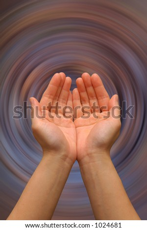 stock photo hands in a cupping gesture on a spinning background of colors akin to a ripple in a pool 1024681 Background Magic in Photoshop