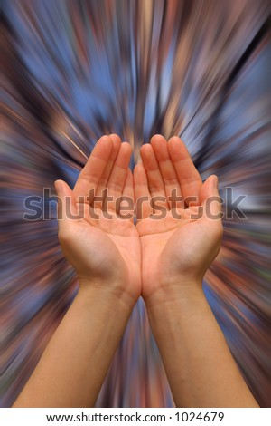 stock photo hands in a cupping gesture on a zooming background of colors 1024679 Background Magic in Photoshop