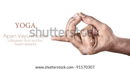 Hands in Apan Vayu mudra by Indian man isolated at white background. Gesture also called as lifesaver: first aid for heart attacks. Free space for your text