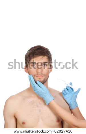 hands in blue gloves with syringe hold attractive young handsome male face, head with injection isolated over white background concept of plastic surgery, skincare, man beauty, spa center