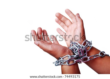 Hands in chain isolated