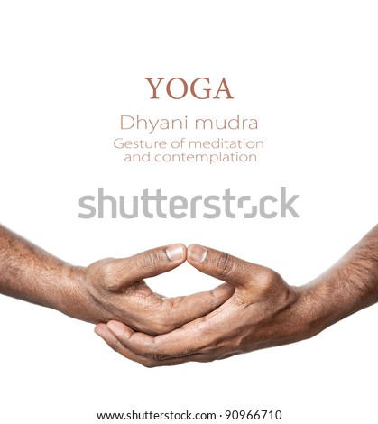 Hands in Dhyani mudra by Indian man isolated at white background. Gesture of meditation and contemplation. Free space for your text