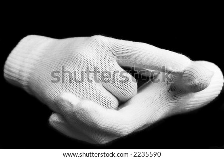 hands in gloves black and white