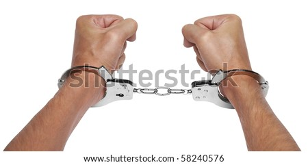 Hands in handcuffs isolated on white background