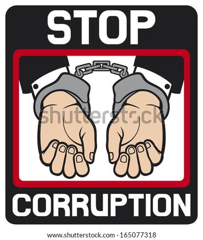 hands in handcuffs - stop corruption sign (stop corruption symbol, man hands with handcuffs)