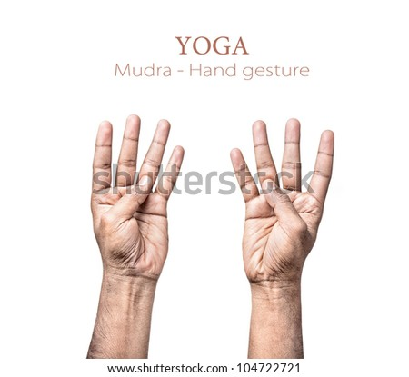 Hands in mudra by Indian man isolated on white background. Free space for your text