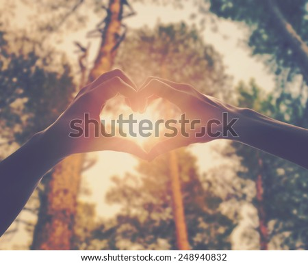 hands in shape of love heart