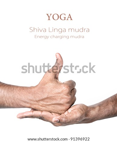 Hands in shiva linga mudra by Indian man isolated at white background Gesture of energy charging Free space for your text