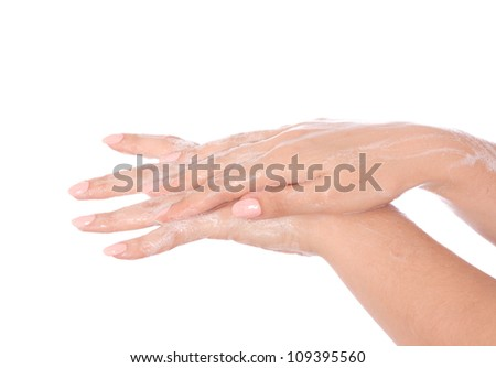 Hands in the foam of soap isolated on white background