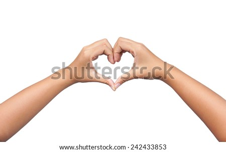 hands in the form of heart isolated on white background #242433853