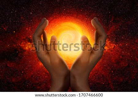 Hands in the starry universe Stock photo ©