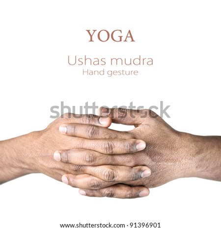 Hands in ushas mudra by Indian man isolated at white background. Free space for your text and can be used in articles about mudras