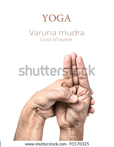 Hands in Varuna mudra by Indian man isolated at white background. Gesture of God of water. Free space for your text