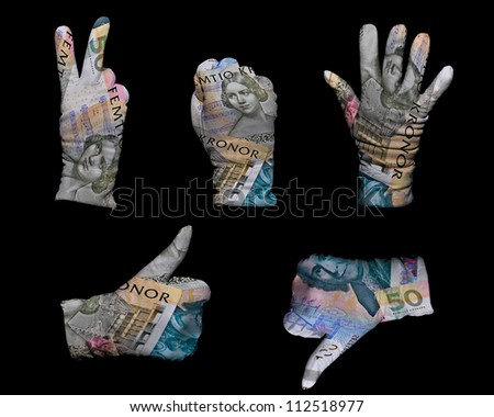 Hands in white gloves wrapped with swedish krona background