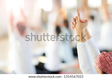 Hands in yoga kundalini symbolic gesture. #1354567025