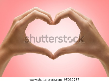 hands is shape of heart - stock photo
