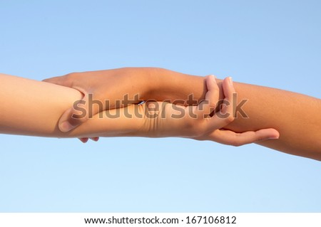 hands isolated in blue sky