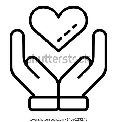 Hands keep heart icon. Outline hands keep heart icon for web design isolated on white background
