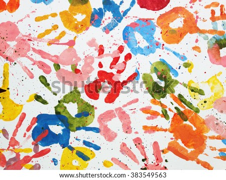 hands kids color art background