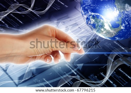 Hands, line, planet earth. The symbol of high technology.