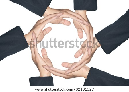 Hands made circle on white background