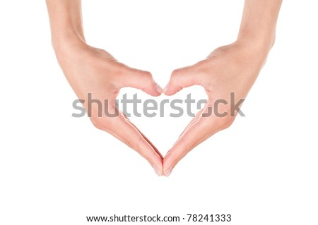 Hands make a heart. Isolated on white background