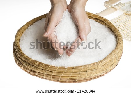 hands making beauty treatment the scrub with salt