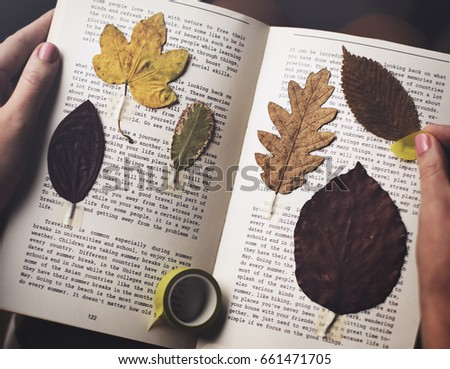 Hands Making Dried Flowers Collection in Book Handmade Work Hobby