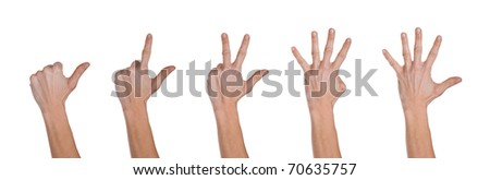 Hands making numbers from 1 to 5.