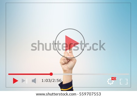 Hands man push start button on touch screen to run video clip