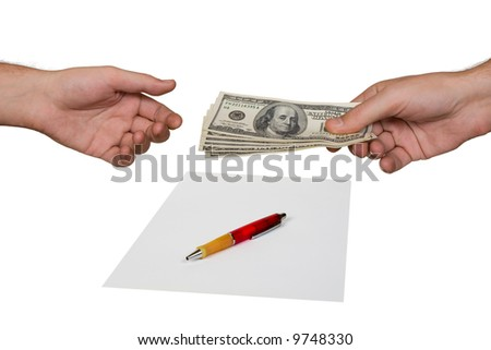 Hands, money and contract, isolated on white background