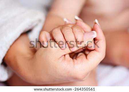 Hands mother and son gently beautiful