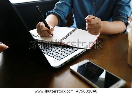 Hands multitasking man working on laptop connecting wifi internet, businesswoman hand busy using laptop at office desk,  working woman lifestyle