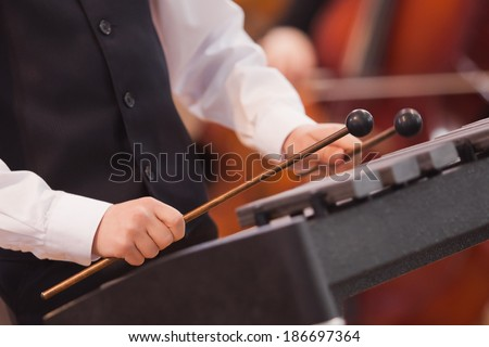 Hands of a child playing a xylophone #186697364