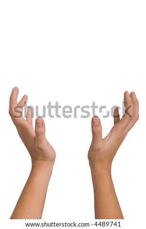 Hands of a woman catching - isolated on white