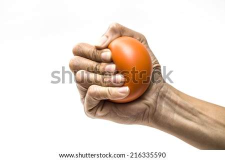 Hands of a woman squeezing a stress ball  Stockfoto ©