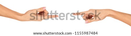 Hands of a young woman - a gesture of gesture. French manicure. Gestures. Isolated object on white background. #1155987484