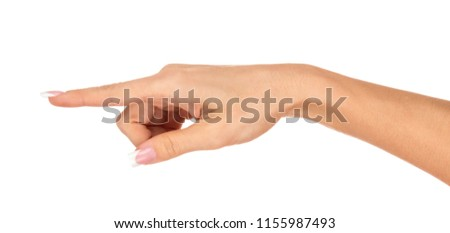 Hands of a young woman - a gesture of gesture. French manicure. Gestures. Isolated object on white background. #1155987493