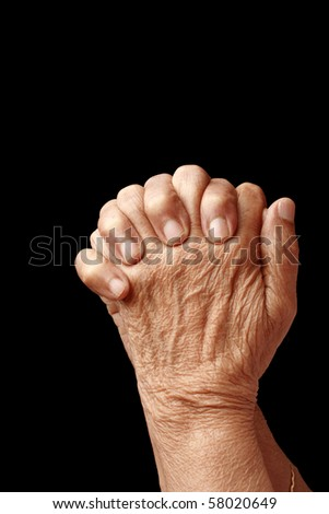 Hands of an old asian woman
