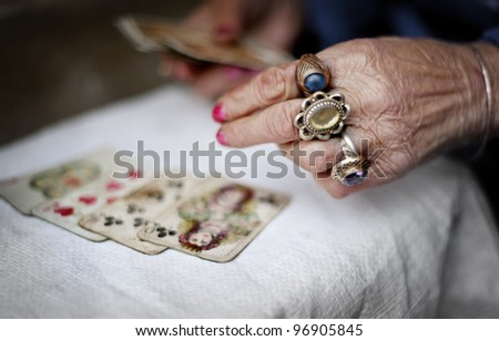 Hands of an old fortuneteller.