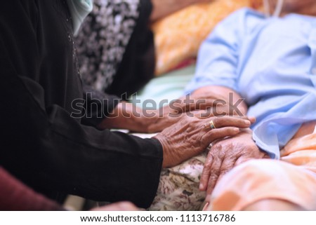 Hands of Asian Muslim woman holding  patient hand and encourage to thier cousin during Muslim celebrated of Eid al-Adha. After morning prayers while they are visits to friends and family. #1113716786