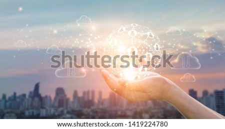 Hands of business holding global structure networking and data exchanges customer connection on sunset background  Stockfoto ©