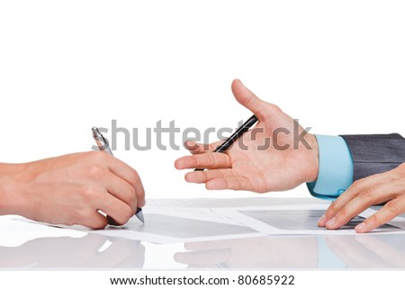 Hands of business people in elegant suits sitting at desk working in team together, with documents sign up contract, on clipboard, folder with papers, business plan. Isolated over white background.