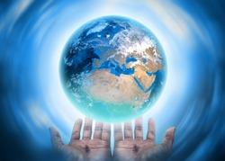 Hands of Christ saving the earth conceptual theme.
