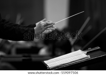 Hands of conductor closeup in black and white  #559097506